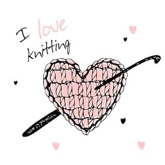 Coração de malha com agulha de crochê. amo tricotar. vetor