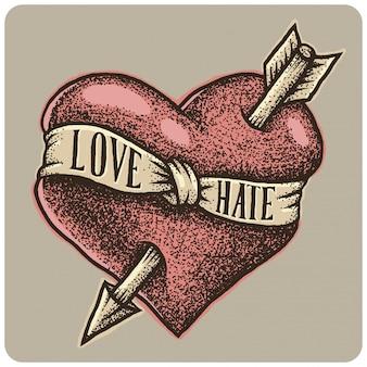 Coração de mão desenhada com seta