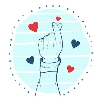 Coração de mão desenhada dedo