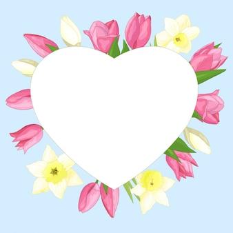 Coração de moldura com flores da primavera, tulipas e narcisos