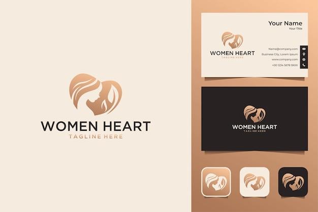 Coração de mulher com logotipo de folha e cartão de visita