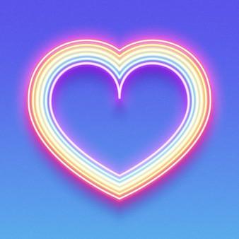 Coração de néon brilhante do arco-íris