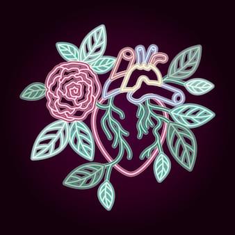 Coração de néon com decoração de rosas