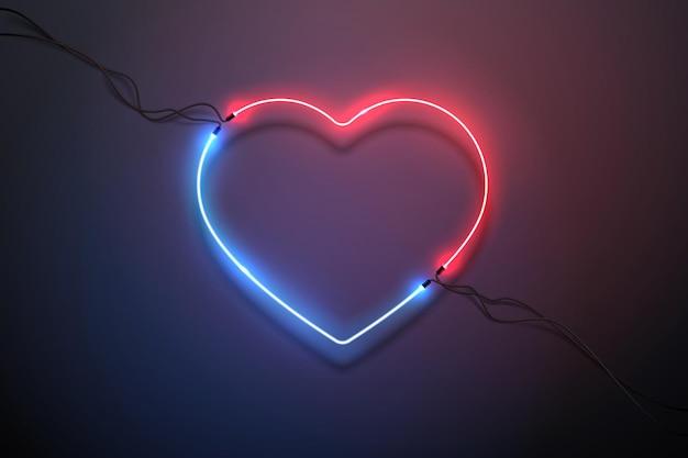 Coração de néon de luz vermelha e azul
