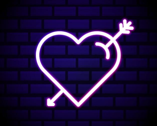 Coração de néon e ícone de seta