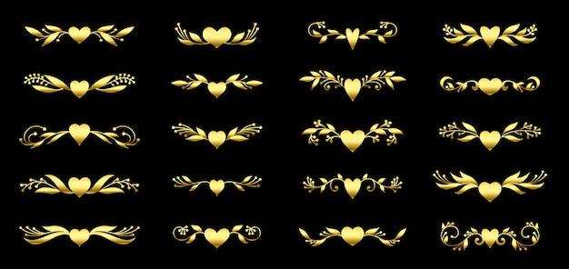 Coração de ouro e conjunto de elemento floral ornamentado