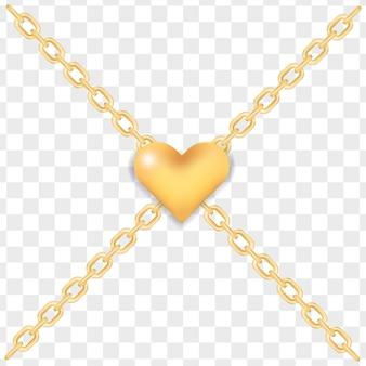 Coração de ouro elegante em correntes de ouro cruzadas.