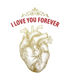 Coração de ouro vintage. cartão de dia dos namorados. design de tipografia. ilustração vetorial
