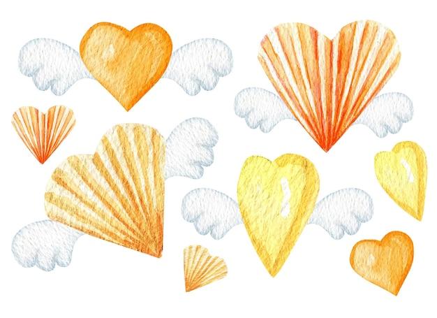 Coração de papel aquarela com ilustração de asas