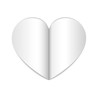 Coração de papel branco. ilustração.