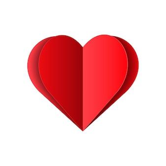 Coração de papel dobrado vermelho isolado no fundo branco. ilustração vetorial de amor