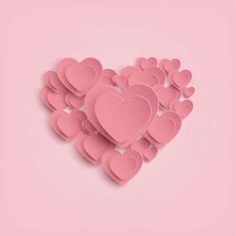 Coração de papel no fundo rosa