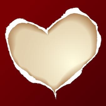 Coração de papel rasgado