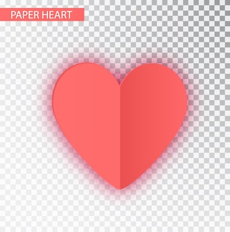 Coração de papel rosa isolado
