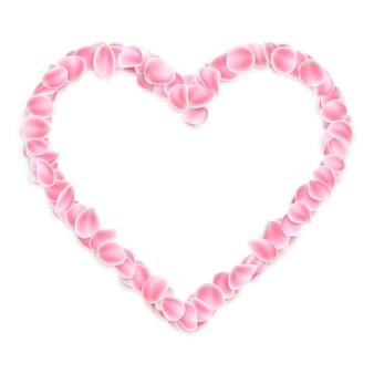 Coração de pétalas de rosa sakura.