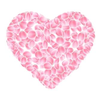 Coração de pétalas de rosa.