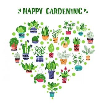 Coração de plantas em vasos de casa ou flores e letras