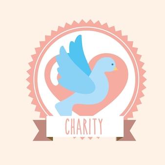 Coração de pombo azul doar bandeira de rótulo de caridade