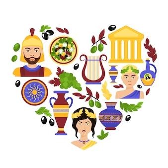 Coração de símbolos da grécia