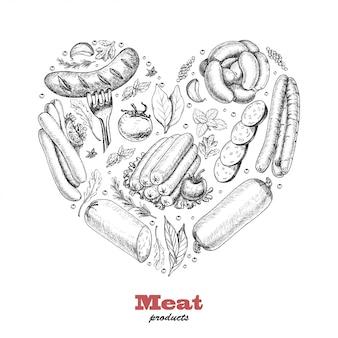 Coração de vetor de produtos de carne
