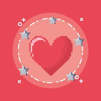 Coração de videogame com estrelas ao redor do ícone
