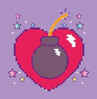 Coração de videogame pixelizada com conceito de desenho animado de bomba