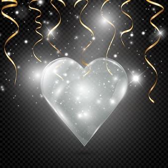 Coração de vidro e de néon em um fundo transparente, ilustração.
