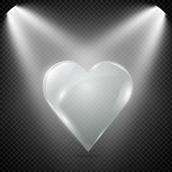 Coração de vidro em um fundo transparente, ilustração