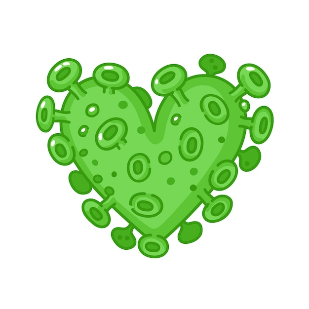 Coração de vírus corona isolado no branco