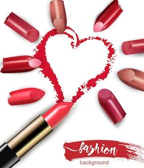 Coração desenhado com batom vermelho batom multicolorido quebrado isolado no fundo branco
