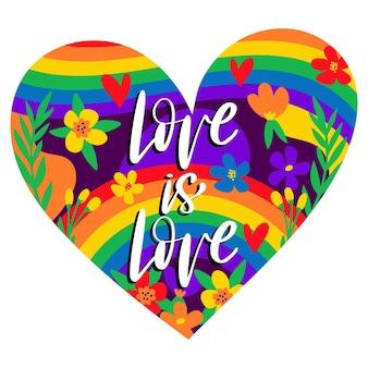Coração do dia do orgulho em forma de fundo com letras