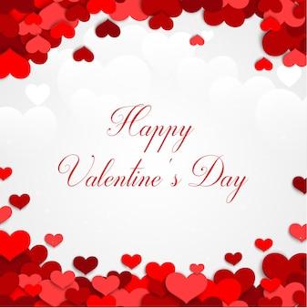 Coração dos namorados em um fundo branco com corações vermelhos