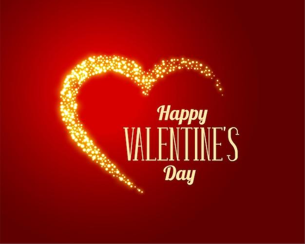 Coração dourado brilhante de amor em fundo vermelho