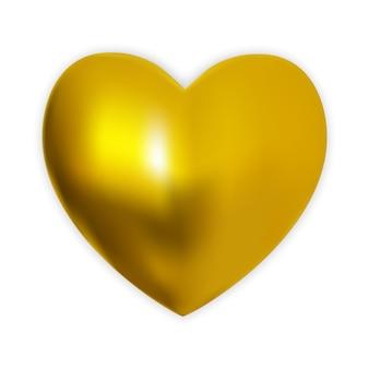 Coração dourado colorido 3d naturalista em um branco.