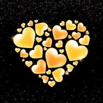 Coração dourado do dia dos namorados no preto