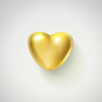 Coração dourado realista isolado no fundo branco