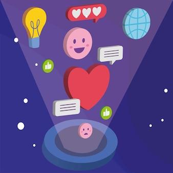 Coração e bolhas de mídia isométrica