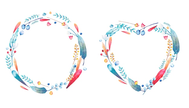 Coração e círculo com ramos de fundição em aquarela de flores