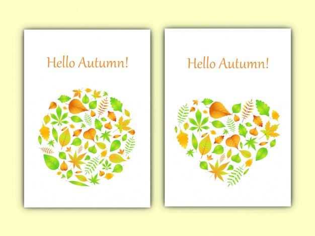Coração e círculo de folhas de outono em cartão de vetor