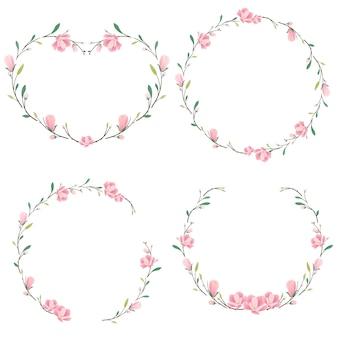 Coração e coleção de coroa de magnólia rosa redonda