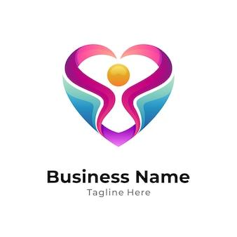 Coração e conceito de logotipo humano