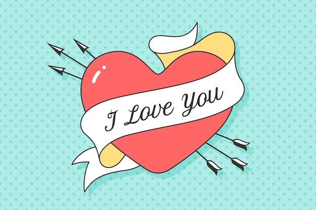 Coração e fita com mensagem eu te amo