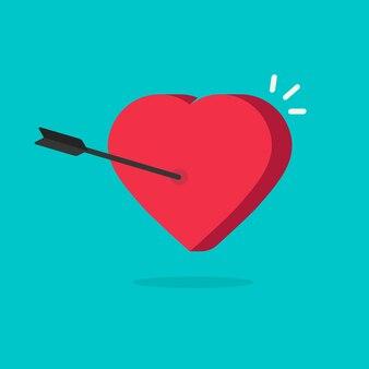 Coração e flecha em estilo 3d plana dos desenhos animados