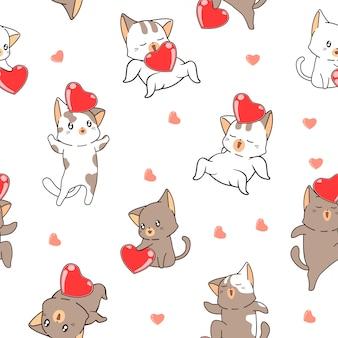 Coração e gato sem costura padrão