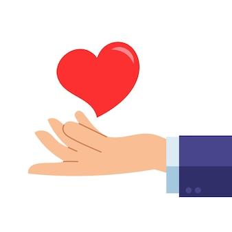 Coração e mão - amor dando, ilustração de design plano de saúde
