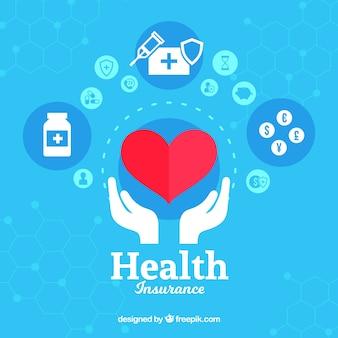 Coração e mãos com ícones de saúde