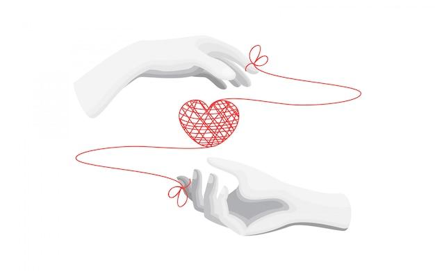 Coração e mãos de ilustração plana