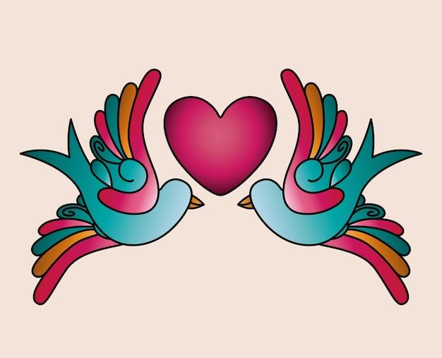 Coração e pássaros tatuagem ícone isolado do design
