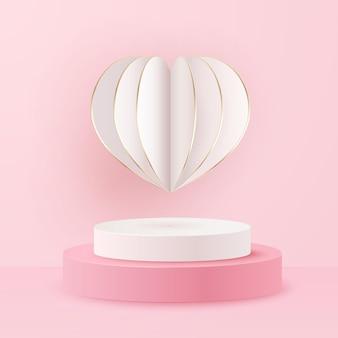 Coração e pódio de papel do feriado do dia dos namorados