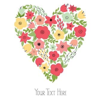 Coração elegante com flores amarelas e rosa, convite de casamento ou cartão de dia dos namorados